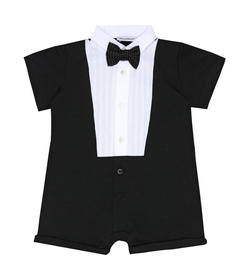 Dolce & Gabbana Kids Baby tuxedo cotton-blend playsuit in black