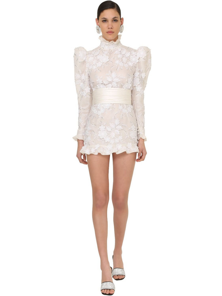 ALESSANDRA RICH Embellished Tulle Mini Dress in white