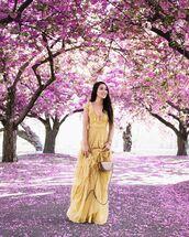 dress,maxi dress,yellow dress,ruffle dress,bag