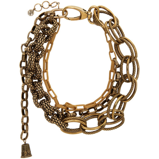 Alexander McQueen Gold Multi Chain Necklace