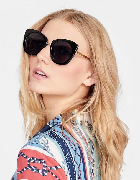 Stradivarius Cateye Sunglasses With Round Lenses In Black