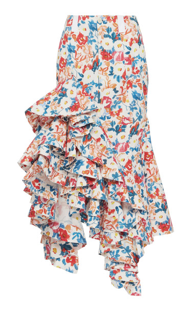 JW Anderson Ruffled Cotton Skirt Size: 6 in multi