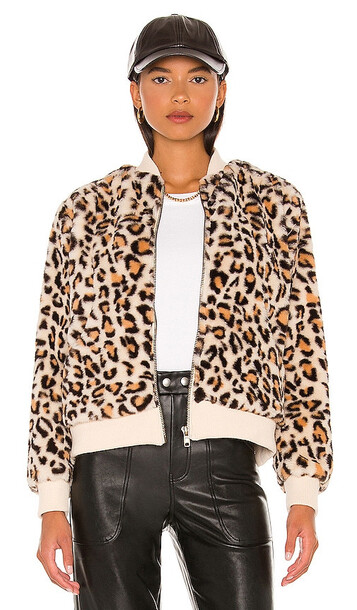 Chaser Animal Faux Fur Bomber in Brown