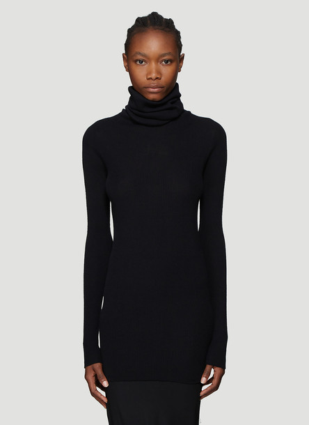Rick Owens Ribbed Knit Roll Neck Top in Black size L