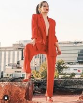 jacket,red jacket,red blazer,red high heels
