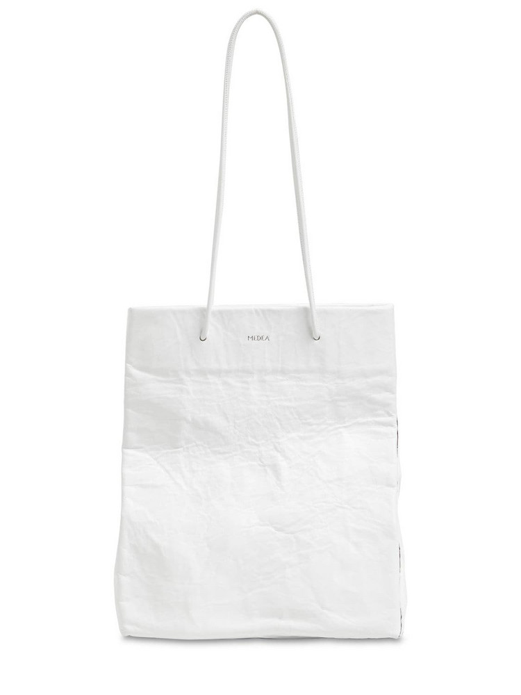 MEDEA Tall Busted Leather Top Handle Bag in white