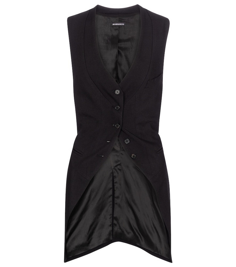 Ann Demeulemeester Wool and silk vest in black