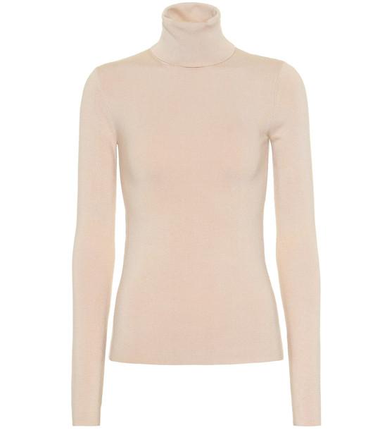 Joseph Stretch silk turtleneck sweater in beige