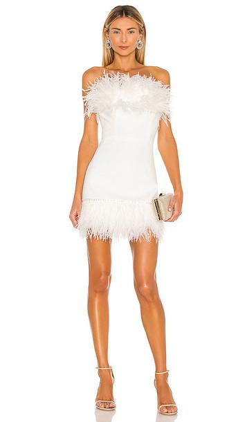 Bronx and Banco Lola Blanc Mini Feather Dress in White