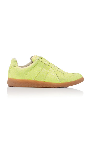Maison Margiela Replica Glittered Faux-Leather Sneakers in yellow