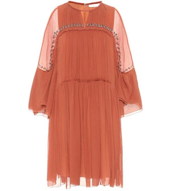 Chloé Embellished silk-crépon dress in orange