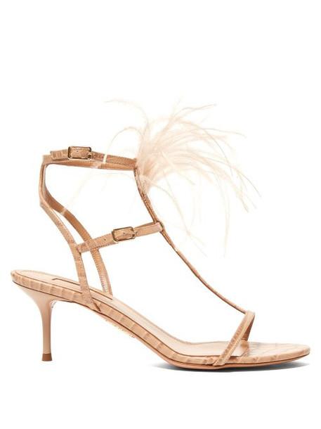 Aquazzura - Ponza 60 Feather Embellished Leather Sandals - Womens - Nude