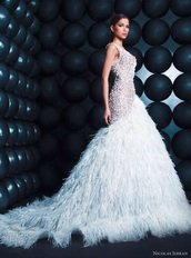 dress,beaded,wedding dress,gown,feathers
