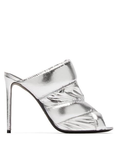 Nicholas Kirkwood - Puffer Metallic Leather Mules - Womens - Silver