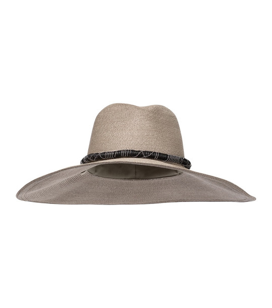 Brunello Cucinelli Embellished hemp and cotton hat in beige