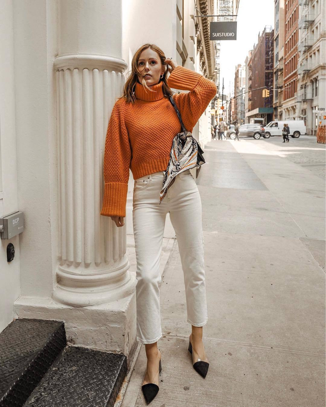 sweater turtleneck sweater orange white jeans high waisted jeans straight jeans mules scarf shoulder bag