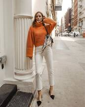 sweater,turtleneck sweater,orange,white jeans,high waisted jeans,straight jeans,mules,scarf,shoulder bag