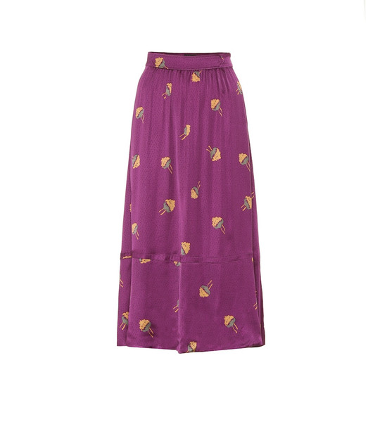 A.P.C. Floral midi skirt in purple