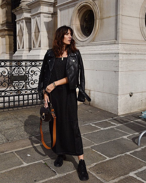 dress black dress maxi dress black sneakers bag black leather jacket