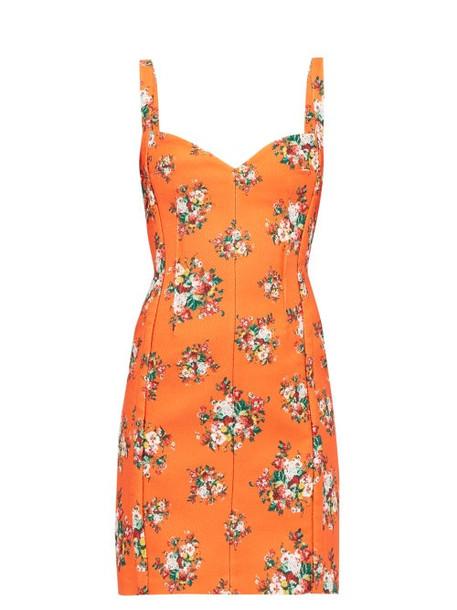 Emilia Wickstead - Fyfe Floral Print Cloqué Mini Dress - Womens - Orange Multi