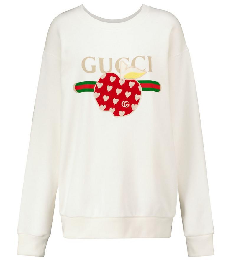 Gucci Appliqué logo cotton jersey sweatshirt in white