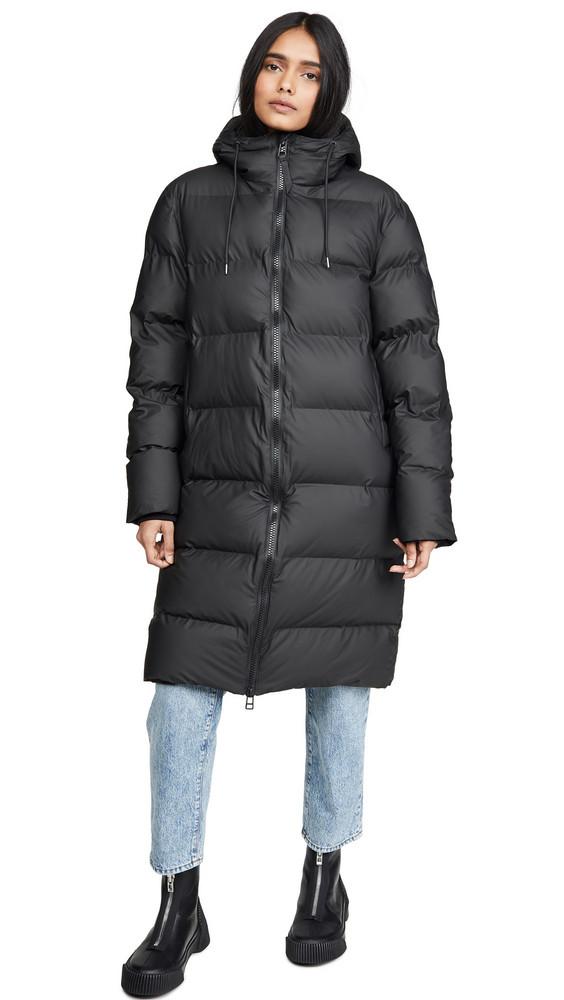Rains Long Puffer Jacket in black