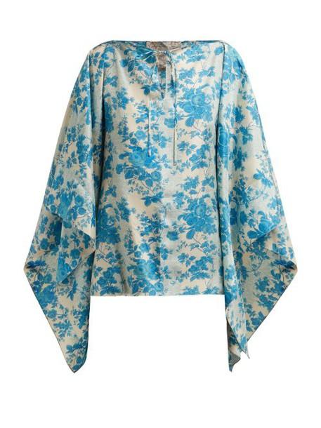 By Walid - Camilla Floral Print Silk Blouse - Womens - Blue Print