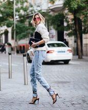 top,black top,sweater,black sandals,mom jeans,black bag