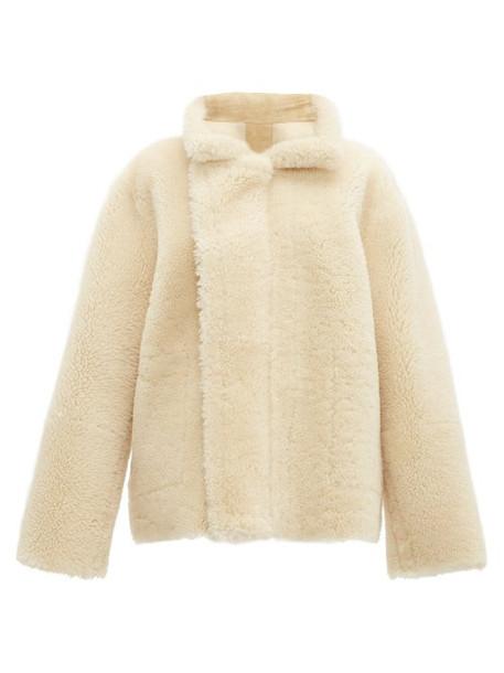 Bottega Veneta - Reversible Shearling And Suede Jacket - Womens - Cream