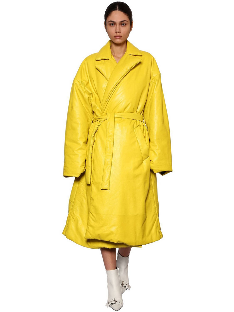 BALENCIAGA Wrapped Quilted Leather Coat in yellow