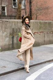wendy's,lookbook,blogger,coat,dress,sweater,bag,shoes,hat,thigh high boots,winter outfits,nude coat,nude boots,over the knee boots,camel coat,long coat,shoulder bag,felt hat