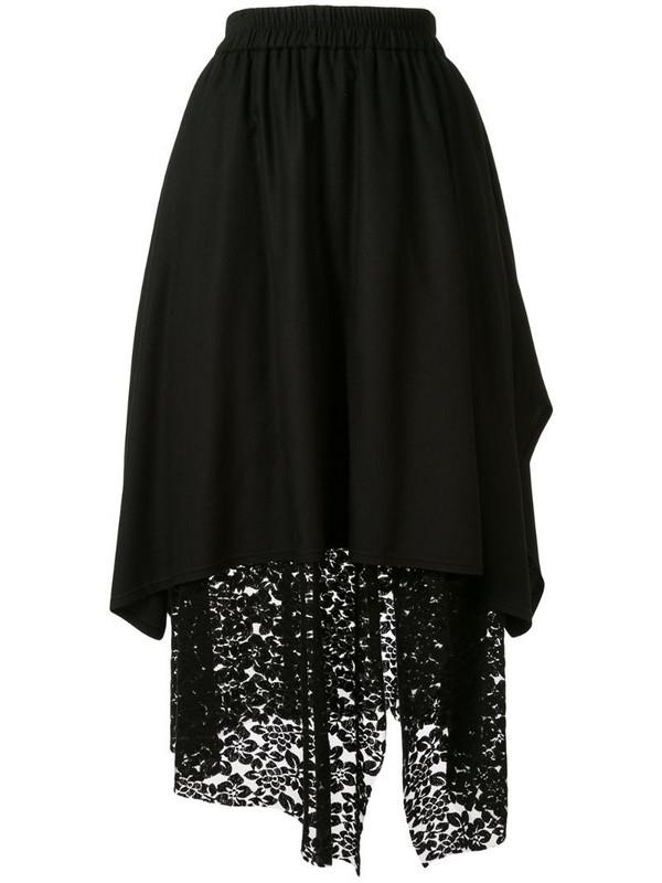 Goen.J overlay mesh lace skirt in black