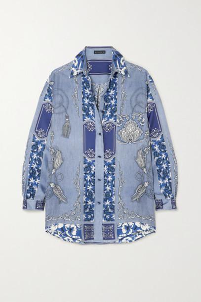 Etro - Oversized Paisley-print Silk Shirt - Blue