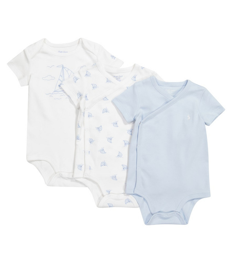 Polo Ralph Lauren Kids Baby set of 3 cotton-jersey rompers in white