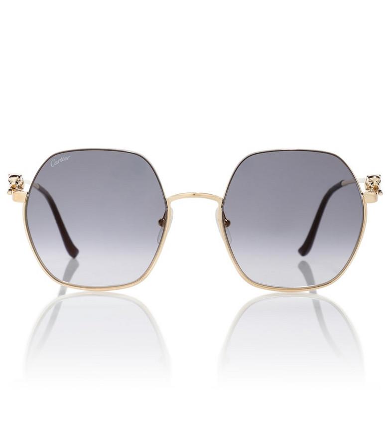 Cartier Eyewear Collection Panthère de Cartier hexagonal sunglasses in gold