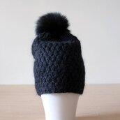 hat,fur pom pom beanie black,fur pom pom hat,fuzzy hat,mohair hat,slouchy