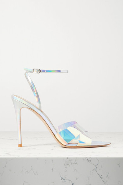 Gianvito Rossi - Stark 105 Iridescent Leather And Pvc Sandals - Silver