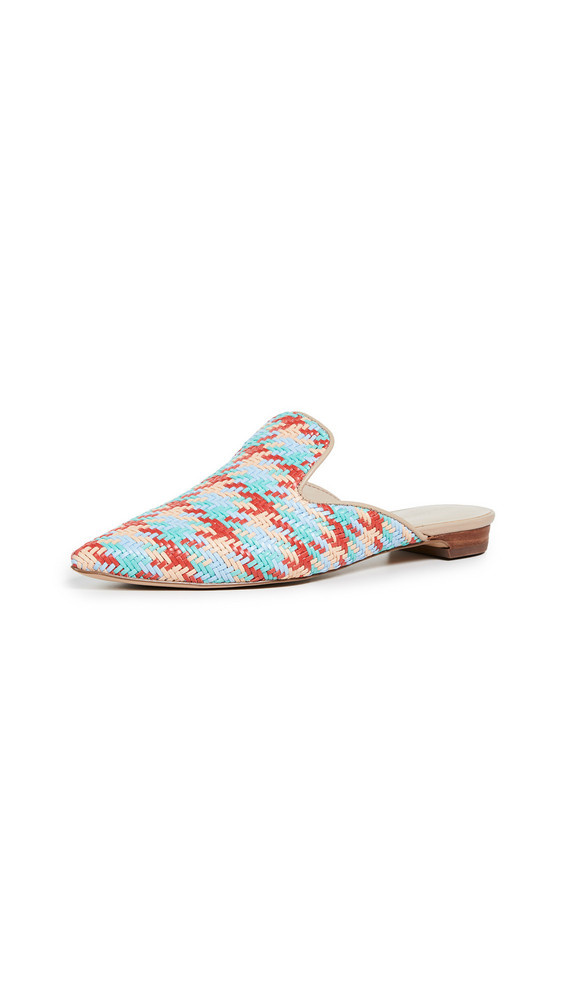 cupcakes and cashmere Nedine Point Toe Mules in blue / multi