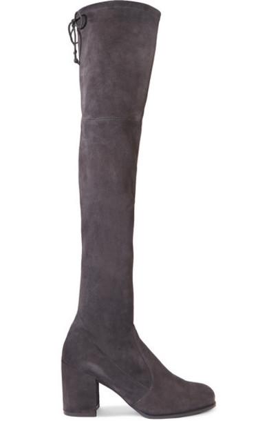 Stuart Weitzman - Tieland Stretch-suede Over-the-knee Boots - Dark gray