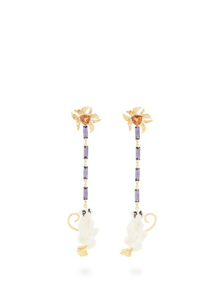 Valentino - Crystal-embellished Monkey Drop Earrings - Womens - White Multi
