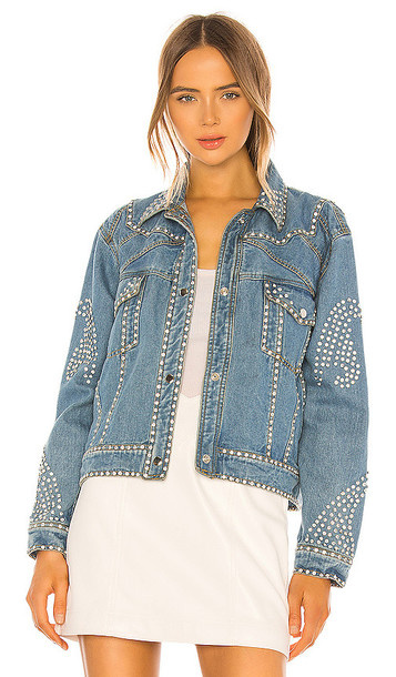 Understated Leather Electra Denim Rhinestone Jacket in Blue
