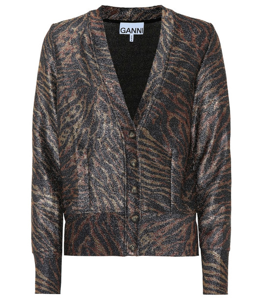 Ganni Tiger-print lurex jersey cardigan in black