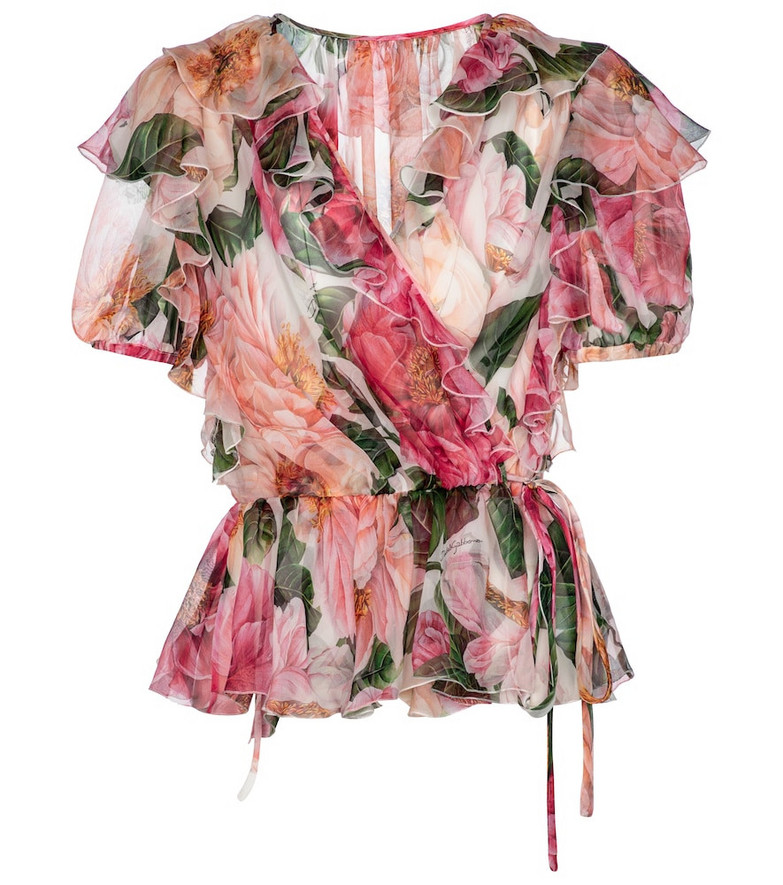 Dolce & Gabbana Floral silk chiffon wrap top in pink