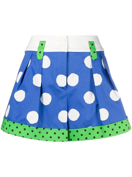 Moschino pleat-detail polka-dot shorts in blue