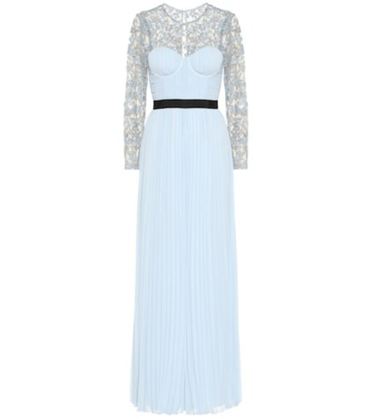 Self-Portrait Lace-trimmed crêpe gown in blue