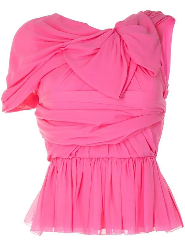Delpozo Georgette draped silk top in pink