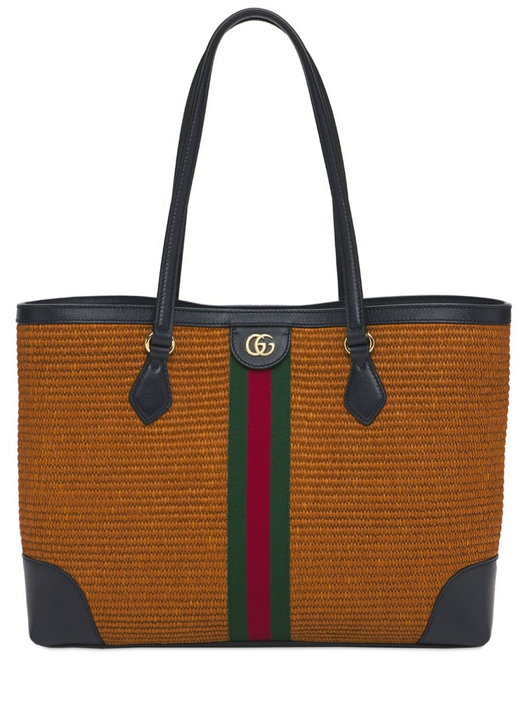 GUCCI Md Ophidia Straw & Leather Tote Bag in natural