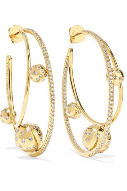 Ofira - Solar 18-karat Gold Diamond Earrings