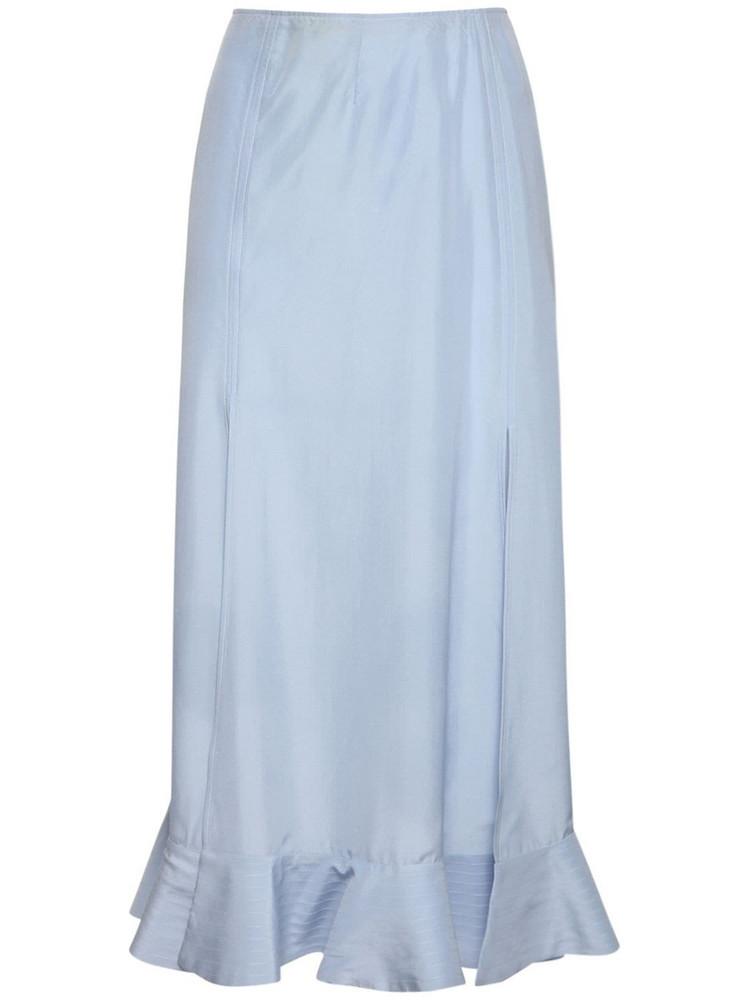 ROCHAS Habutai Flared Silk Midi Skirt in blue