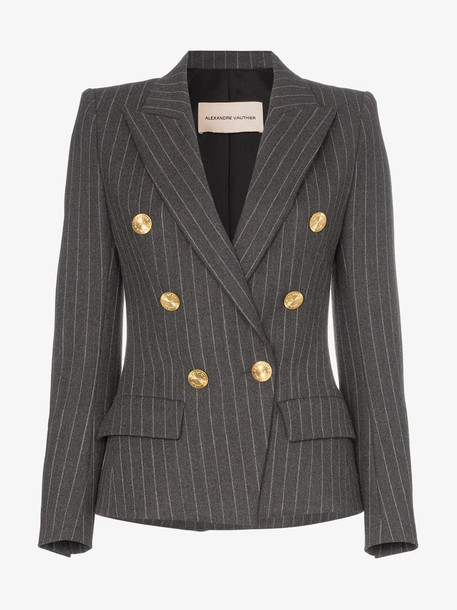 Alexandre Vauthier double-breasted pinstripe blazer in grey